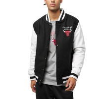 NEW ERA NBA CONTRAST VARSITY JACKET CHICAGO BULLS BLK/WHT