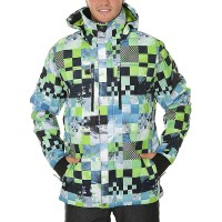QUIKSILVER MISSION PRINTED SNOW JACKET LIME GREEN_MONEY TIME