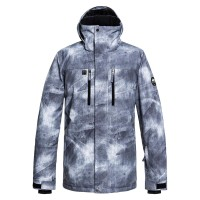 QUIKSILVER MISSION PRINTED SNOW JACKET GREY SIMPLE TEXTURE