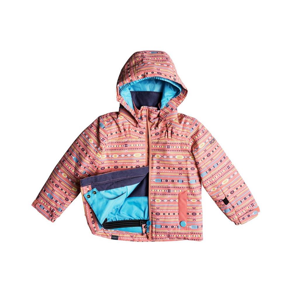 d7b6961edce1 ROXY MINI JETTY SNOW JACKET GIRLS SHELL PINK INDIE STRIPES