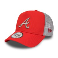 NEW ERA LEAGUE ESSENTIAL TRUCKER ATLANTA BRAVES HOT RED/GRAY