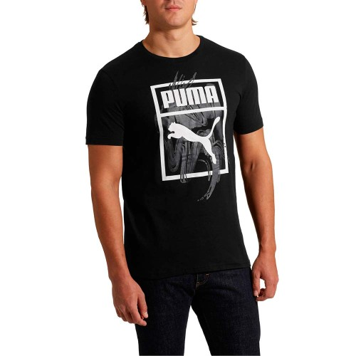 PUMA GRAPHIC LOGO BRUSH TEE BLACK Mens T-shirts