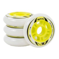 SFR INLINE WHEELS WHITE/YELLOW 64mm
