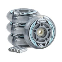 SFR LIGHT UP INLINE WHEELS SILVER 64mm