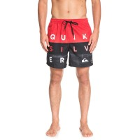 "QUIKSILVER WORD BLOCK VOLLEY 17"" BOARDSHORTS HIGH RISK RED"