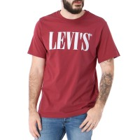 LEVIS RELAXED GRAPHIC TEE 90S SERIF LOGO EARTH RED