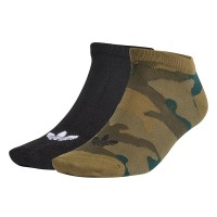 ADIDAS TREFOIL LINER ANKLE SOCKS 2PAIRS BLACK/OLIVE CARGO