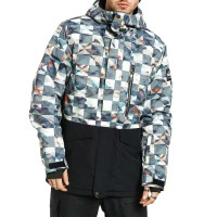 QUIKSILVER MISSION PRINTED BLOCK SNOW JK BARN RED ONGRID