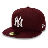 NEW ERA LEAGUE ESSENTIAL 59FIFTY NY YANKEES MAROON/OPT WHT