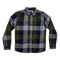QUIKSILVER MOTHERFLY FLANNEL YOUTH L/S SHIRT DEAP DEPTHS