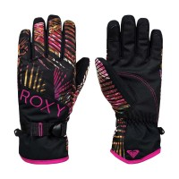 ROXY JETTY SNOW GLOVES TRUE BLACK NIGHT PALM